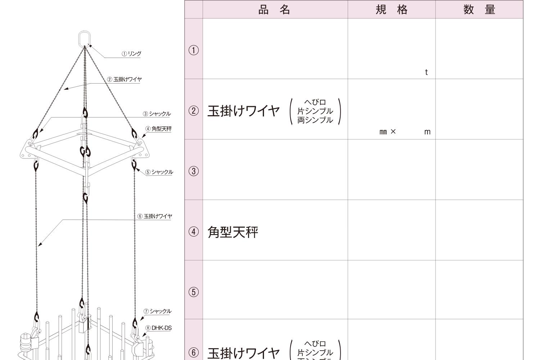鉄筋地組柱 吊り治具参考例(角天秤)